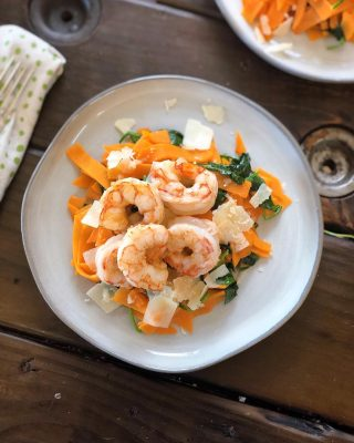 Feels like this week has gone by soooo sloooowly 🐢. Anyone else? ⠀⠀ Speed it up with my 20 MINUTE SWEET POTATO PASTA W/ SAUTED SHRIMP 🍤🍠 ⠀⠀ You spoke and I answered. This is my fastest meal yet! 💨 #whole30 #paleo #aip approved if you leave out the cheese 🥴. #glutenfree #veggieforward and insanely delicious. 🙌😋 ⠀⠀ 👇🏼 dEATs: ⠀⠀ Wild caught shrimp Sweet potato noodles Organic spinach Shredded Parmesan Butter / Olive oil Seafood seasoning ⠀⠀ Full recipe link in bio or below: ⠀⠀ https://thenutramom.com/sweet-potato-pasta-with-sauteed-shrimp/ ⠀⠀ 💁🏻♀️ And don't forget these simple weekday hacks if you're busy: ⠀⠀ 💚 Plan meals ahead so you don't end up through a drive through or making frozen pizza (been there) 💚 Buy shrimp that is already deveined and peeled (saves a solid 20 minutes 🙌) 💚 Dethaw shrimp in a colander under cold running water while you prep and cook your noodles 💚 Buy pre-made sweet potato noodles. Sure you can cut or spiralized your own, but if you want to keep it quick just pick some up. I got mine at Trader Joe's 💚 Buy prewashed organic spinach so you can just throw it in at the end 💚 Make a double serving for leftovers the next day ⠀⠀ All kinds of things are getting canceled around here from the Coronavirus fears 😷 I worry about the economic hardship it's going to cause in our communities. Stay safe. Be kind. Help where you can. Happy Friday 💚 . . . . .  #paleorecipes #paleocooking #paleomeals #30minutemeals #fasthealthydinner #weeknightdinnerideas #paleofood #glutenfreerecipes #realfoodrecipes #cleaneating #holisticnutrition #foodblogger #momlife #paleoeats #glutenfreefoodie #paleofoodie #nutrition #organicfood #cleaneats